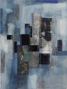"Mitchell Visoky, Urban Light, Mixed Media Collage, 17""x14"", $600"