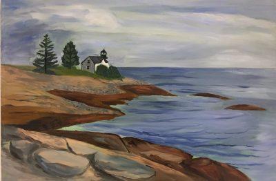 "Hilda Green Demsky, Lighthouse at Prospect Harbor, ME, Oil, 20""x30""x1.5"", $900"