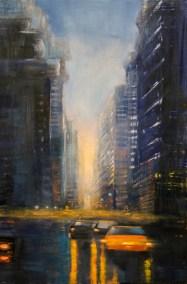 "Jane Black, Yellow Lights NYC, Oil on linen, 24""x36"", $1,200"