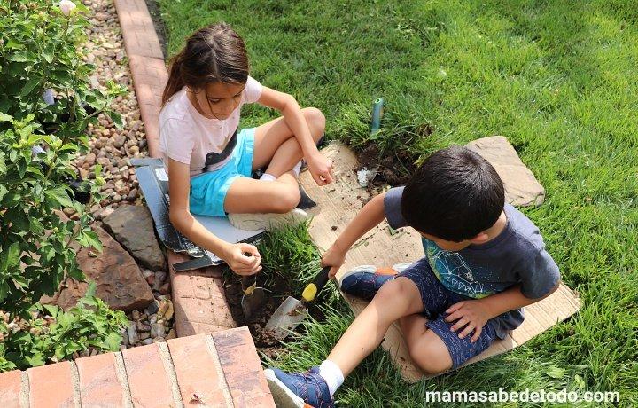 Niños jugando cómo cambiar un aspersor de riego