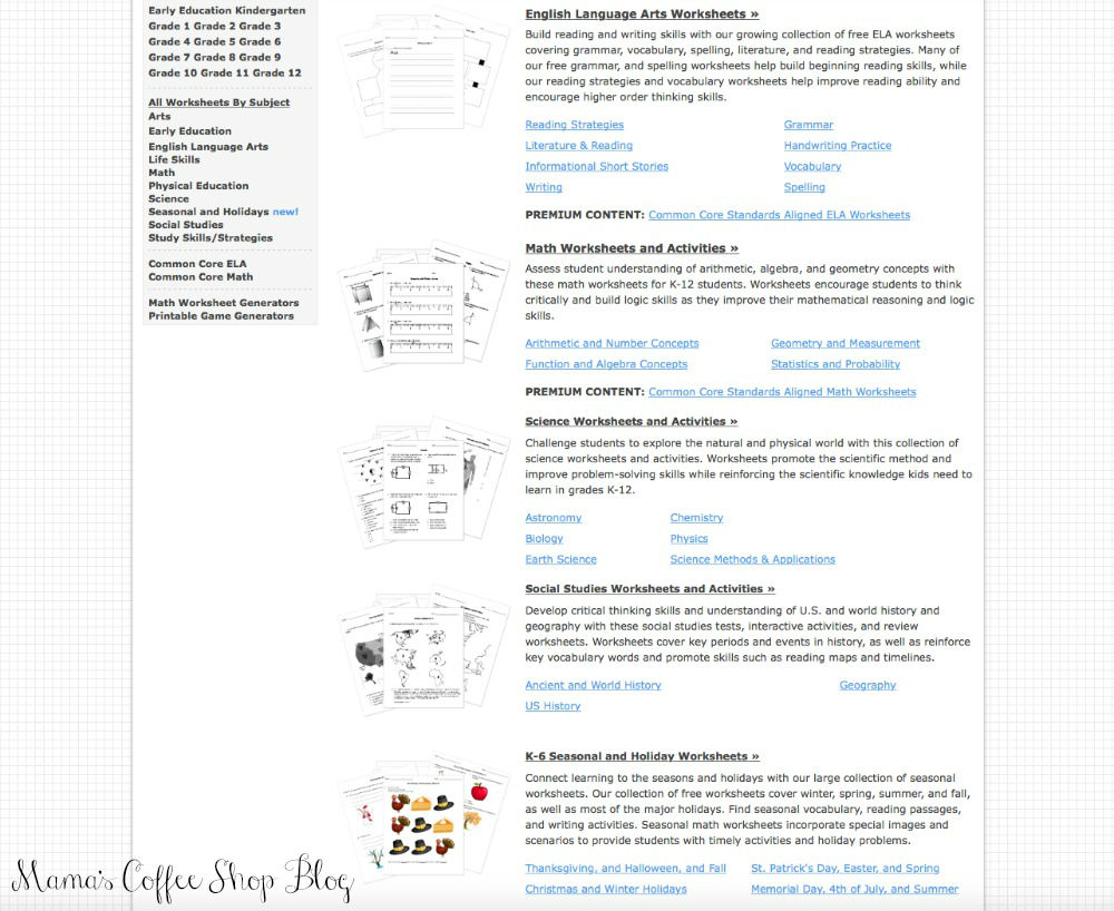 Mama's Coffee Shop Blog - HelpTeaching - Worksheets
