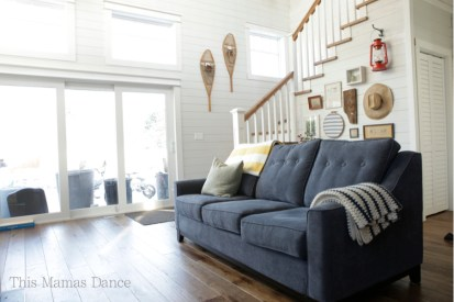 cottage living room blue couch