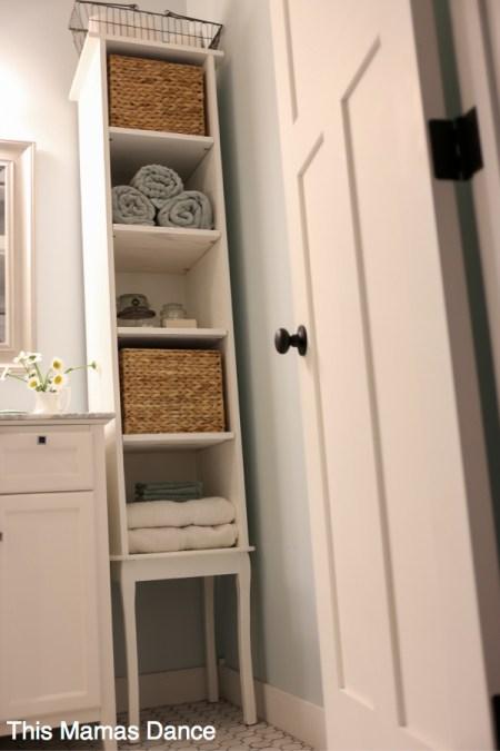 DIY White Bathroom Free Standing Cabinet