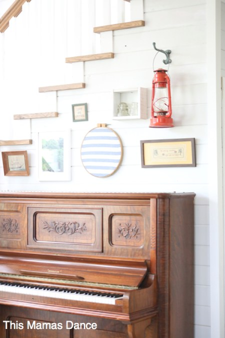 piano and gallery wall