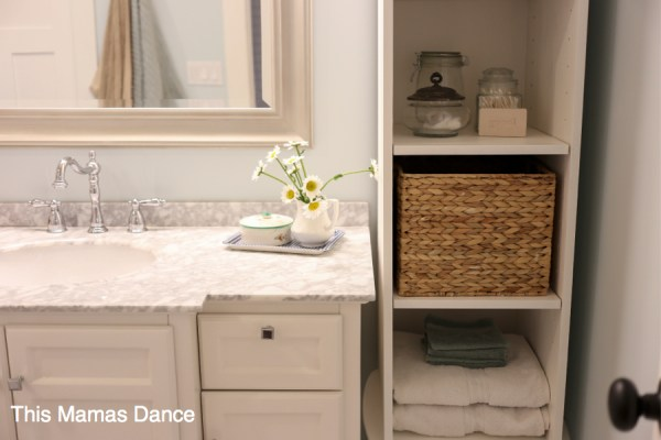 white with blues bathroom