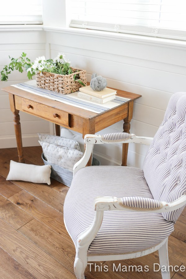 Button Tufting, white and navy striped chair-3