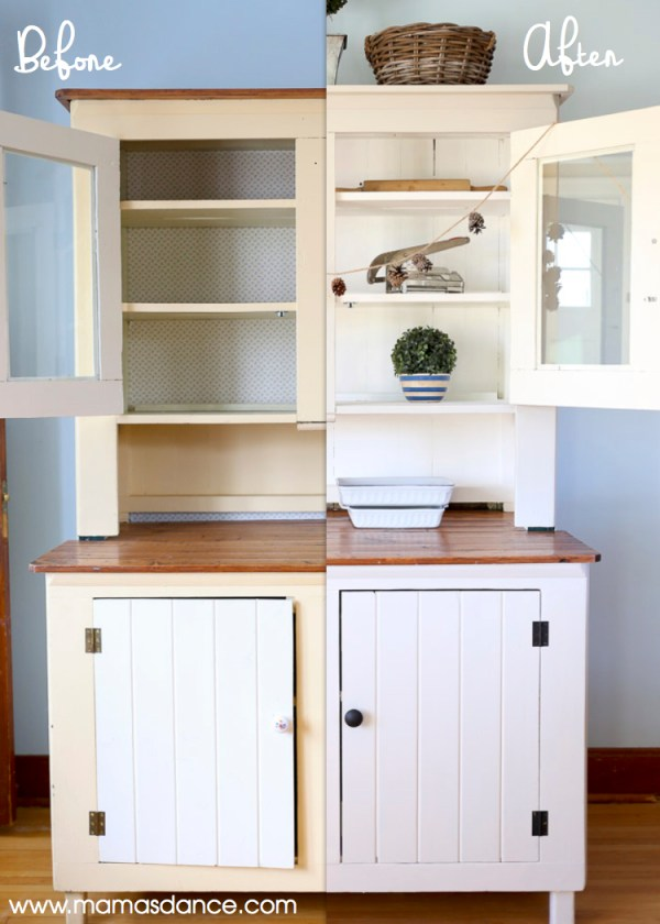 painted farmhouse Hutch Makeover Before and After| This Mamas Dance