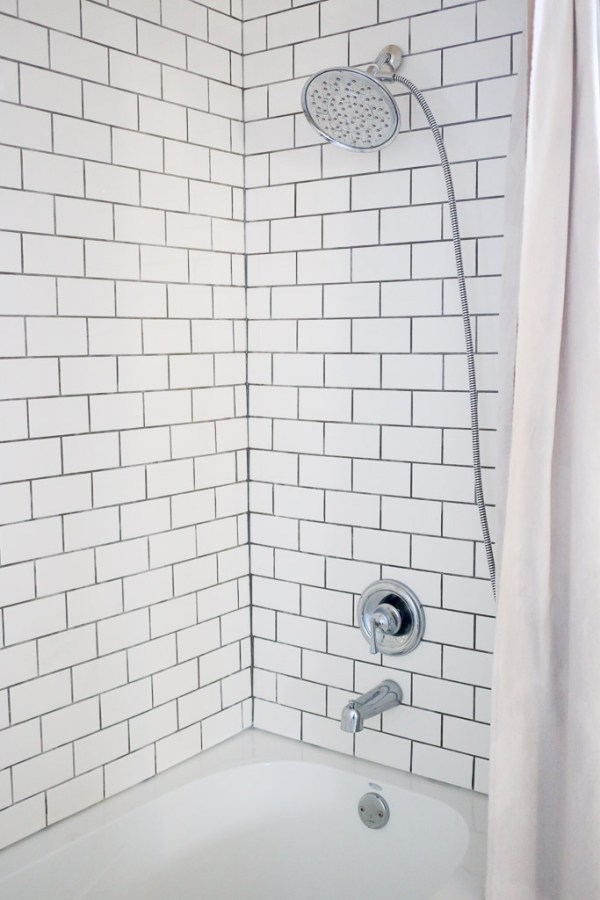 Chrome Bathroom Hardware, white subway tile with dark grout