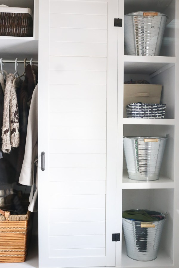 White and Black Small Mudroom with Built Ins | This Mamas Dance-9