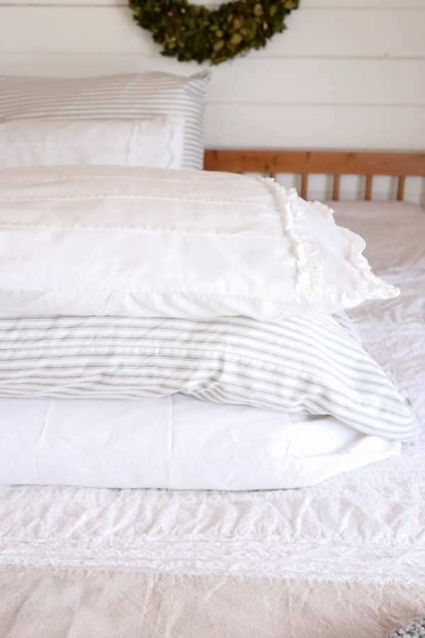 Ticking Pillow with White