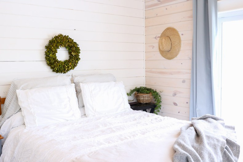 White Shiplap with Boxwood white bedding | This Mamas Dance