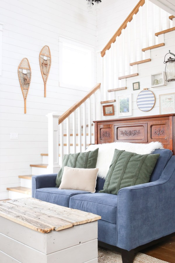Blue Tufted Wingback Chairs, Coastal Living Room | This Mamas Dance-8