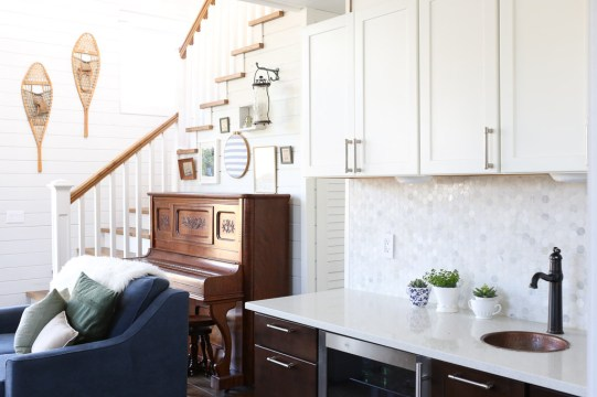 White Upper Cabinets, Dark Wood Lower Cabinets|This Mamas Dance-5