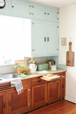 Farmhouse Kitchen, Mint Upper Cabinets, Wood lowers | Mamas Dance-2