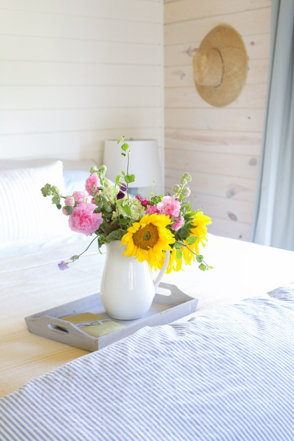 Yellow Throw, Blue and White Ticking Duvet, Farm Fresh Flowers | This Mamas Dance-2