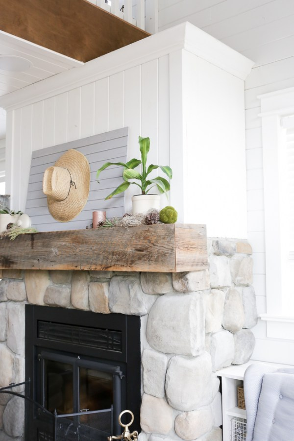 Cottage Fireplace, with Rustic Stone Work and White Pine | via Ashlea of this Mamas Dance #cottage #fireplace #diyfireplace