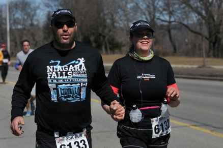 After the giant hill. Note my hubby holding my hand to help me run.