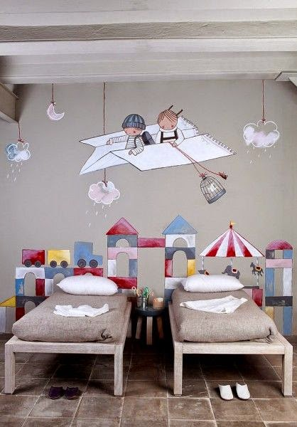 camas decoracion murales colores kids