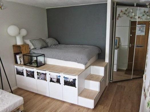 almacenaje estanterías camas altas paredes colores