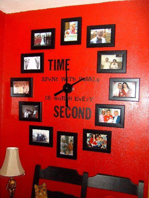 reloj fotografías pared recuerdos