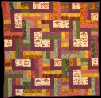Complementary colors and patterns create a captivating piece that defines a room.