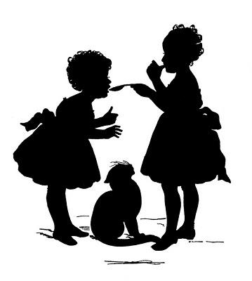 Children tasting silhouette