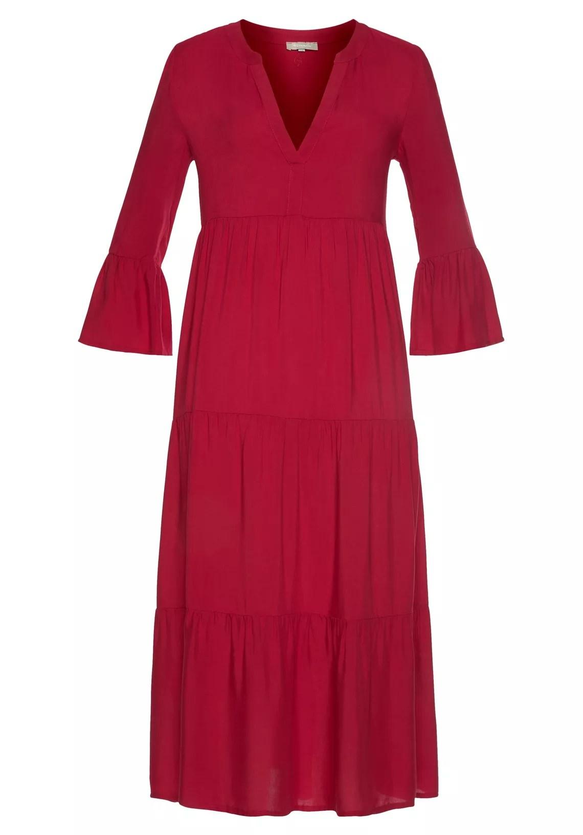 Tamaris maxi-jurk met volant mouwen