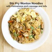 Stir Fry Wonton Noodles with Vietnamese Cha Lua recipe