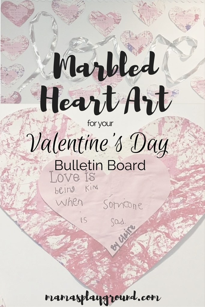 Marbled Heart Art bulletin board