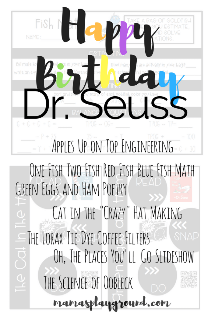 Dr. Seuss activities in engineering, poetry, math, science and art!