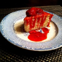 A Bit Of Sweet Sunshine In Your Mouth~ Lemon Sour Cream Cake with Strawberry Sauce