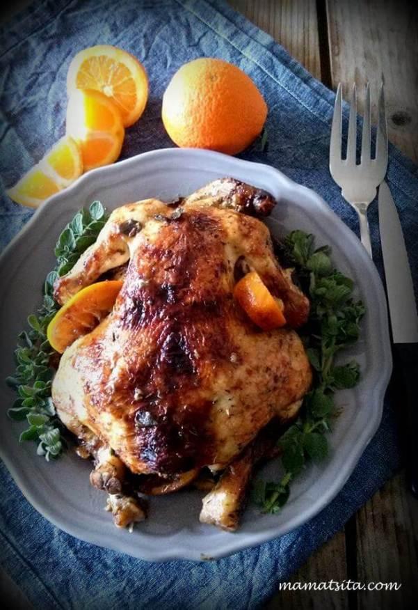 κότοπουλο με πορτοκάλια
