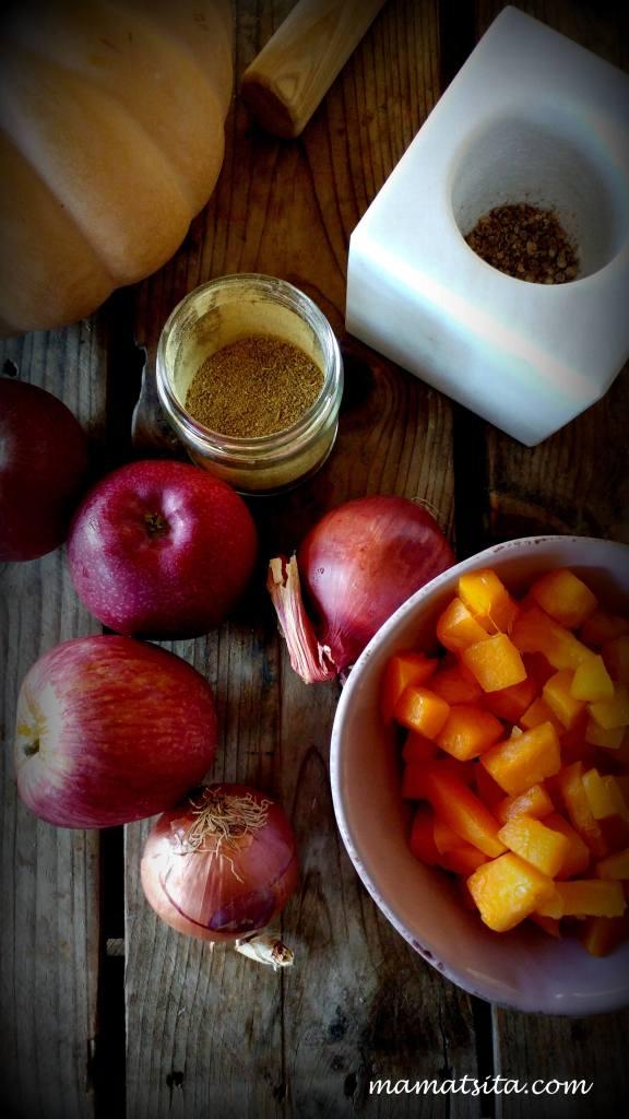 σούπα κολοκύθα με μήλα