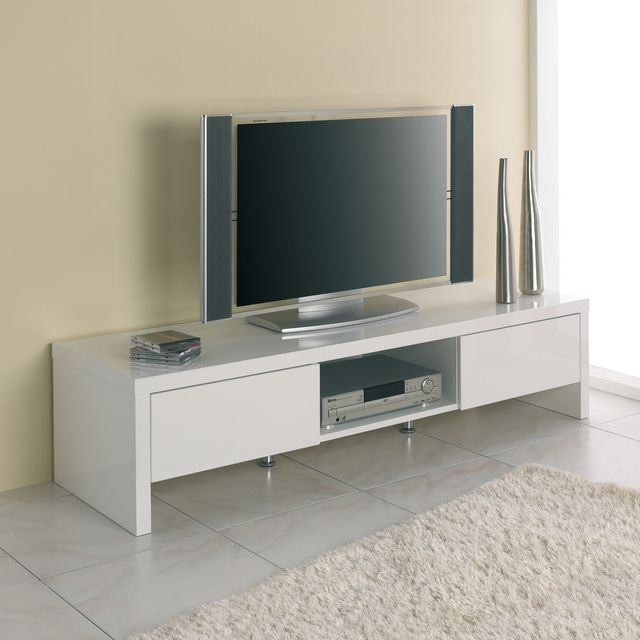 Meuble TV 2 tiroirs 1 niche Blanc GECKO