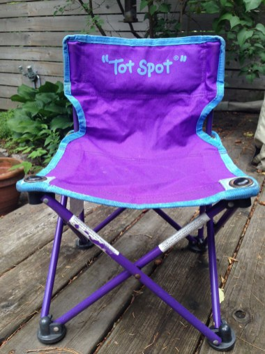 This is the chair. I bought six of these from $5-$15 on Craigslist and Kijiji.ca. They fold up and come with a carrying bag and are so well made. They hold adults, too, and are comfortable. We use them in our backyard for extra seating for kids, at the beach, parades, etc