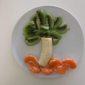 Frutas con formas, palmera de frutas