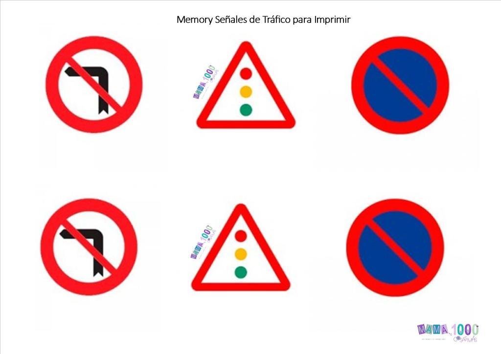 memory para imprimir y cortar, aprender las señales de tráfico