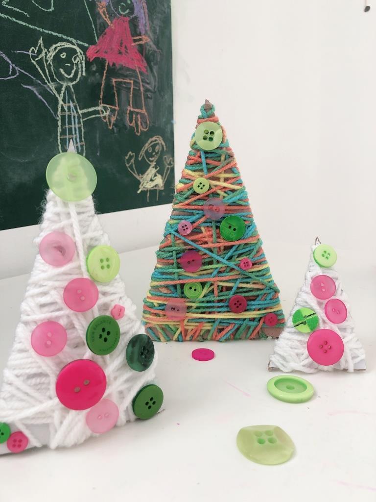 manualidades para niños con lana en navidad
