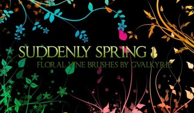 gvl Suddenly Spring brushes - Free floral brushes for photoshop