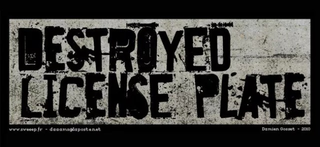 Destroyed License Plate - Download Free Dirty Fonts