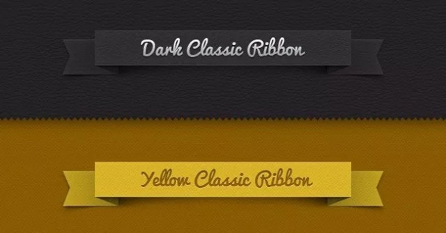 003 classic ribbon vintage leather psd - Free Web Elements PSD Files #1