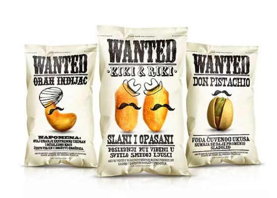 Wanted Snacks - Fully Illustrated Package Designs