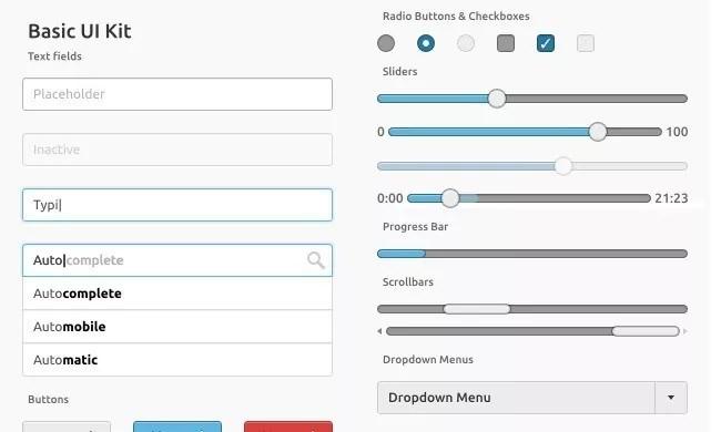 Basic UI Kit - Free PSD Web Elements