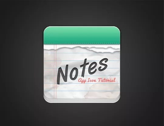 Final Result - How To Create A Notes App Icon In Photoshop