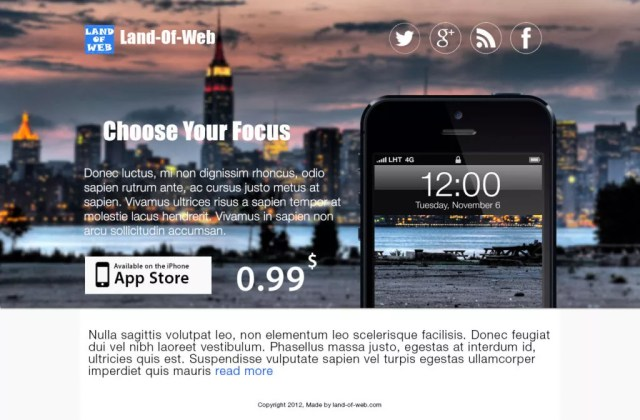 iphone5 app wd 1024x672 - FREE iPhone5 App Landing Page PSD Template