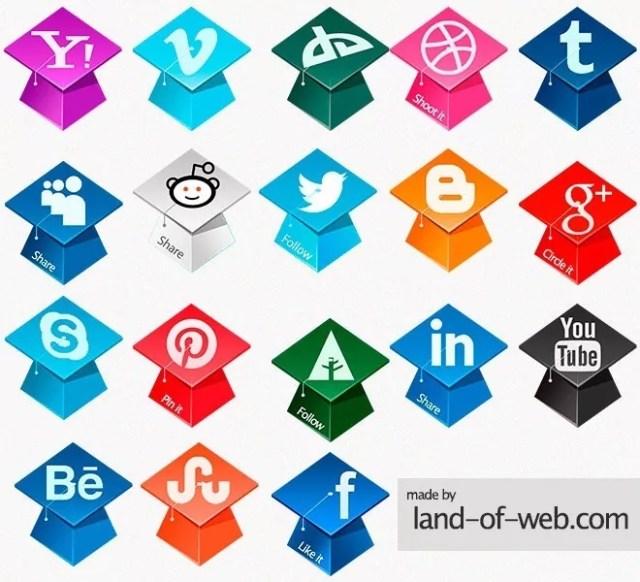 preview1 - Freebie: Graduation Hats Social Icons