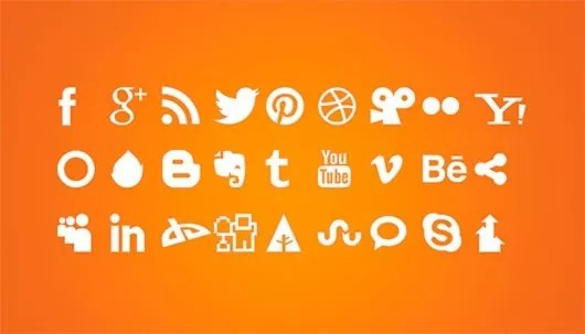 preview orange icons - FREE White Social Icons PSD