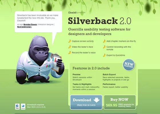 Silverback App - 30+ One Page Web Designs
