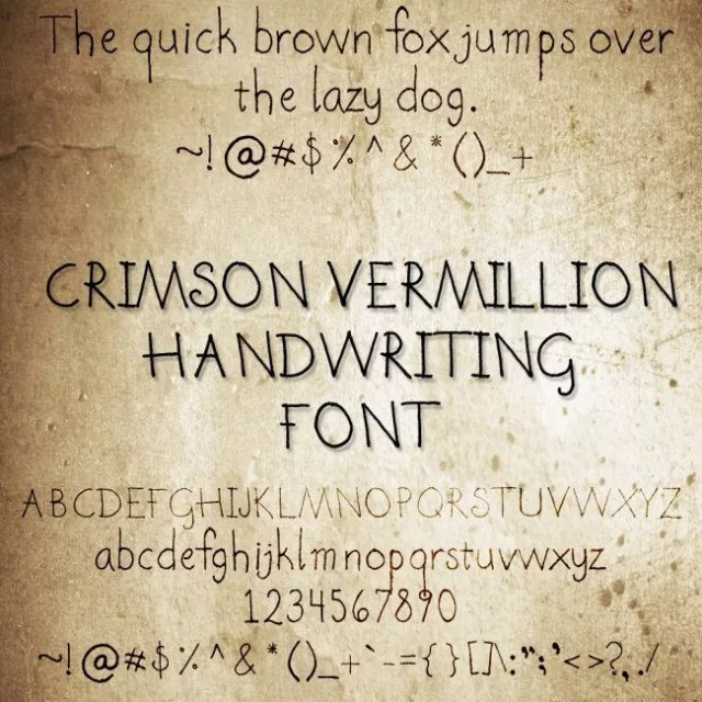CrimsonVermillion Font by crimsonvermil stock e1363864083611 - Free Handwritten Fonts