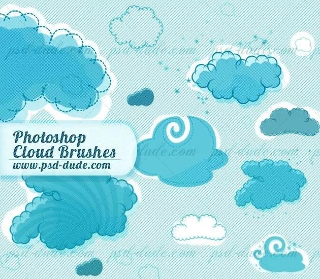 cartoon cloud brushes by psddude d4lx0da - 30+ Free Photoshop Cloud Brushes